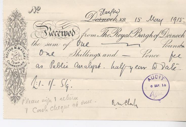 Receipt for public analyst's salary 1915