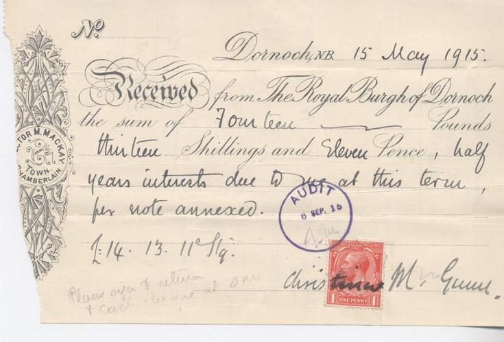 Receipt for interest 1915