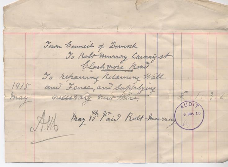 Bill for repairs 1915