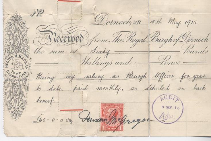 Receipt for burgh officer's salary 1915