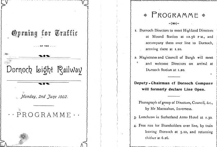 Dornoch Light Railway opening programme