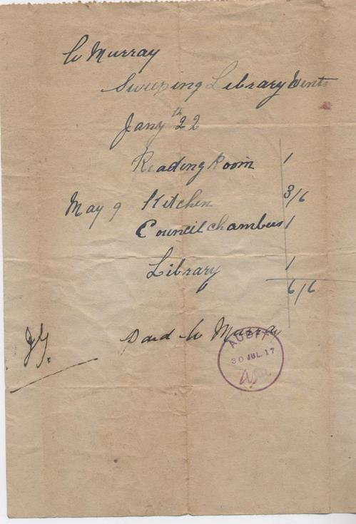 Bill for chimney sweeping 1916