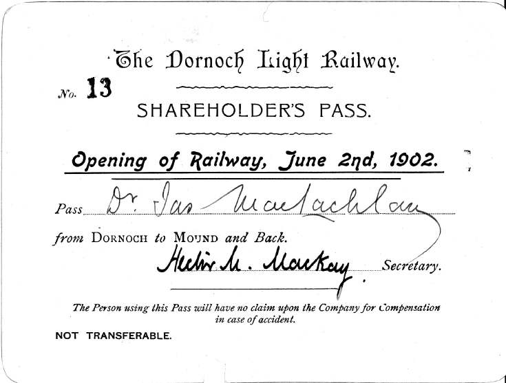 Dornoch Light Railway opening Shareholder's Pass