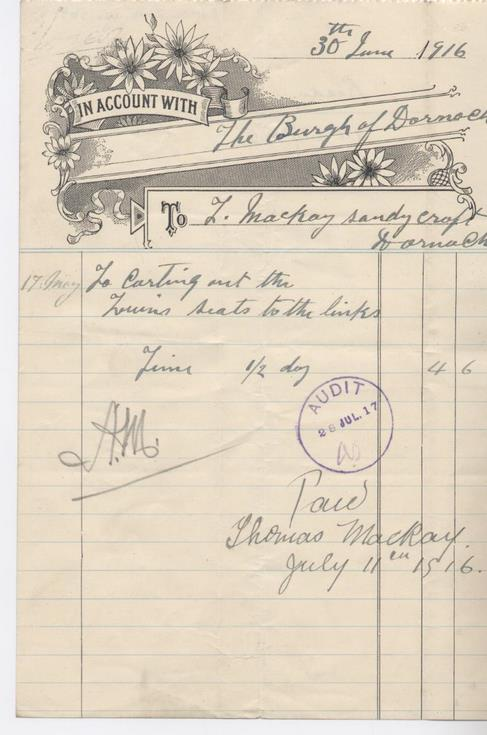 Bill for carting 1916