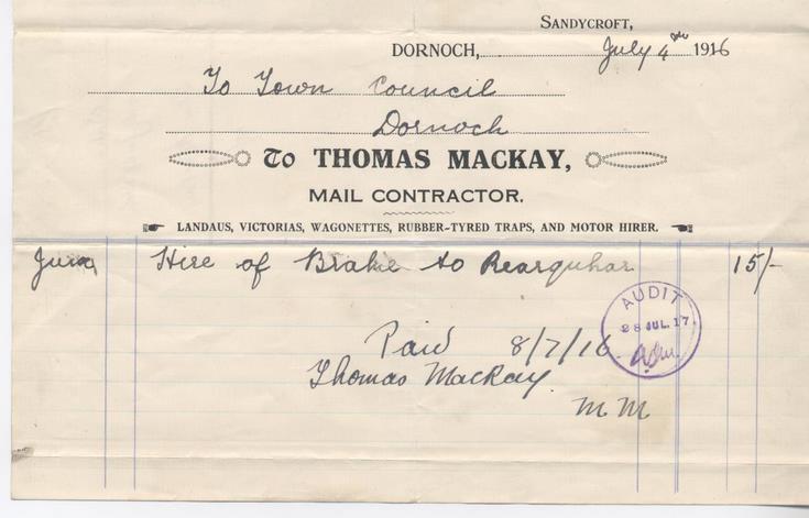 Bill for transport 1916