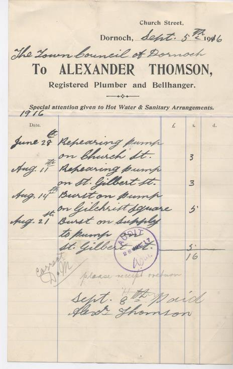 Bill for repairs to water pumps 1916