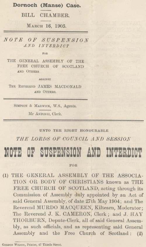 Note of suspension against Rev James Macdonald