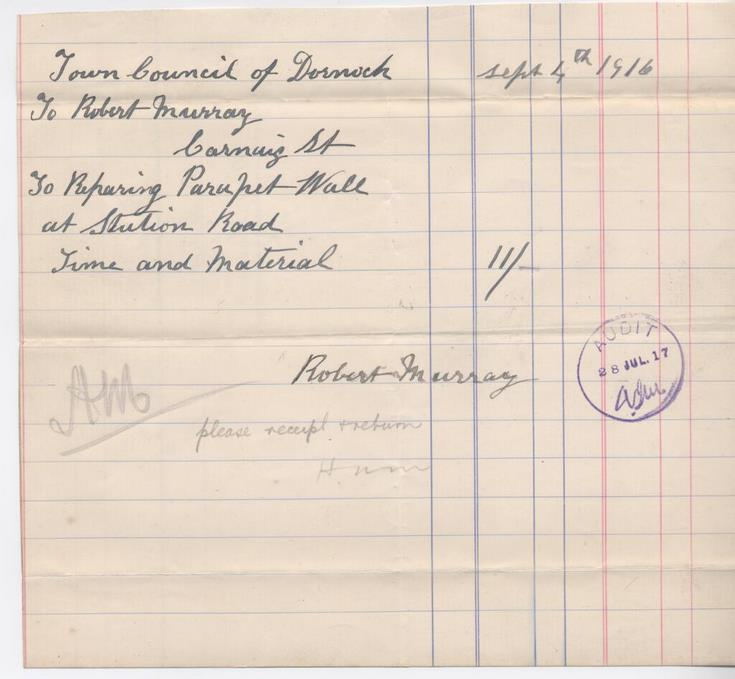 Bill for repairs to wall 1916
