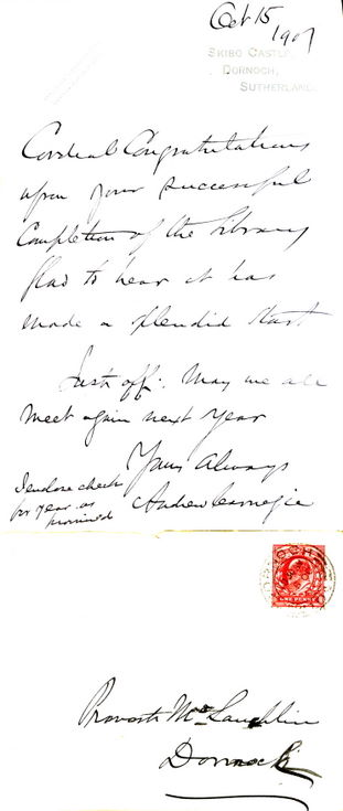 Letter from Andrew Carnegie