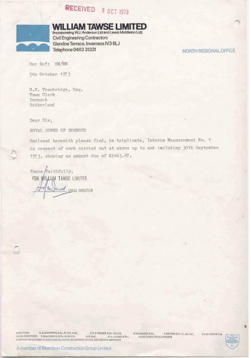 County Surveyor's Department correspondence