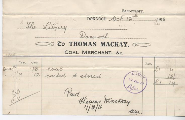 Bill for coal 1916