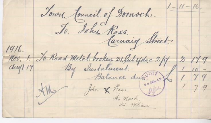 Bill for road metal 1916