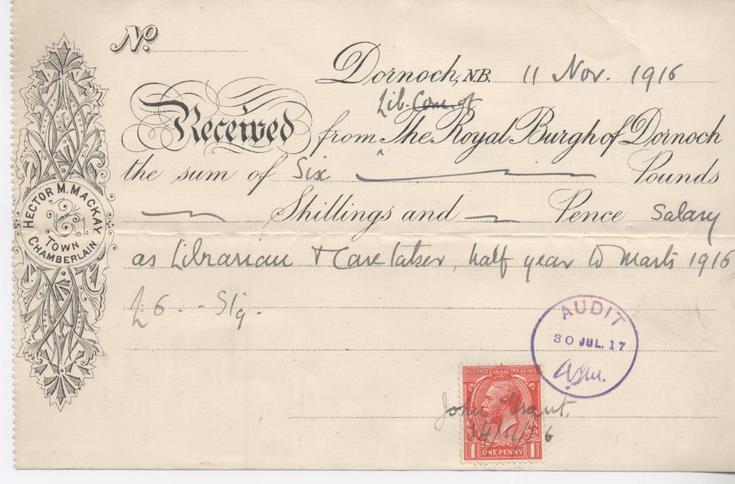 Receipt for librarian's salary 1916