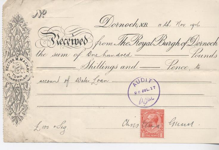 Receipt for loan repayment 1916