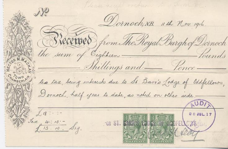 Receipt for interest 1916
