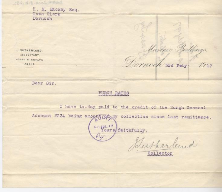 Letter from Burgh Collector 1917