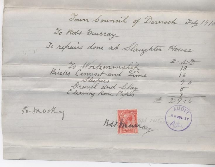 Bill for repairs 1916