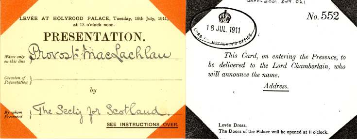 Admittance card for presentation at Holyrood