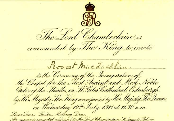 Invitation to ceremony at St Giles' Cathedral, Edinburgh