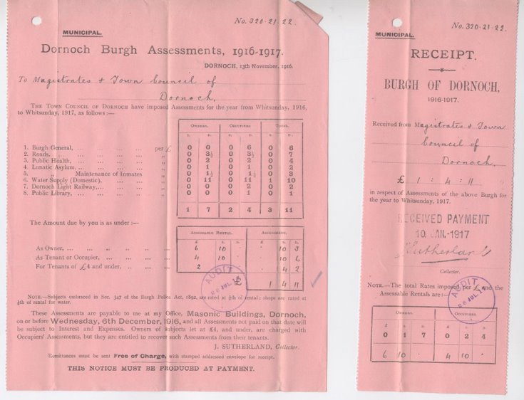 Notice of assessment for municipal rates 1916-17