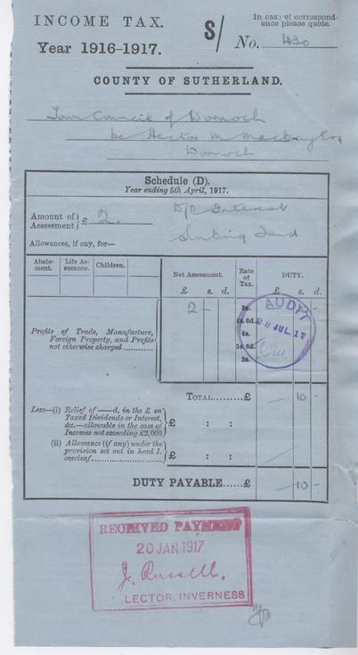 Income tax assessment for interest, 1916-17