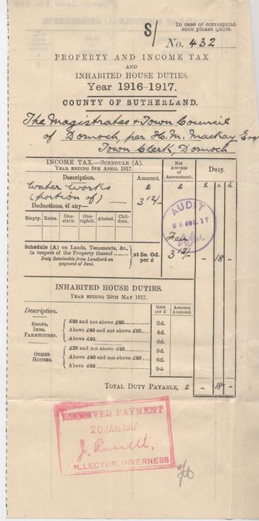 Income tax assessment for waterworks, 1916-17