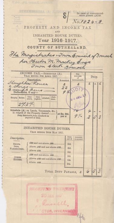 Income tax assessment for slaughterhouse, 1916-17