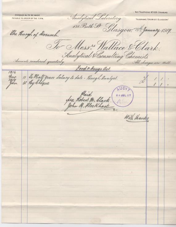 Bill for burgh analyst's salary 1917