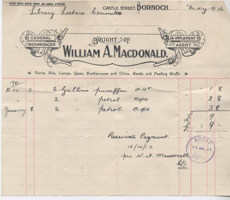 Bill for paraffin 1916