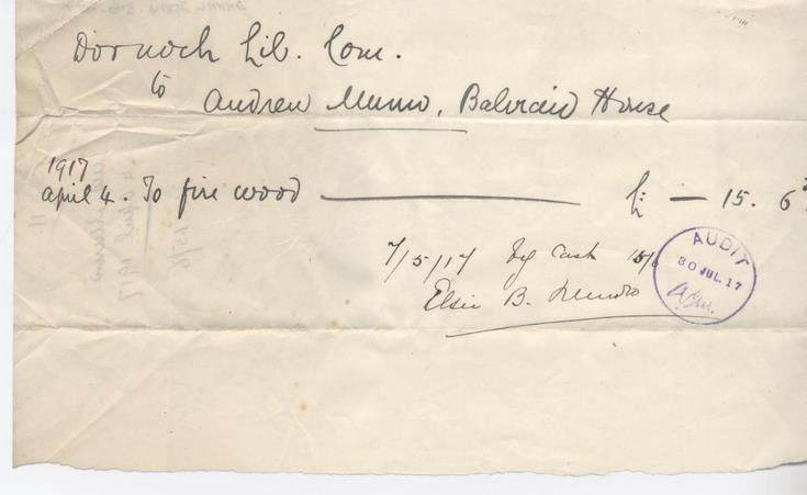 Bill for firewood 1917