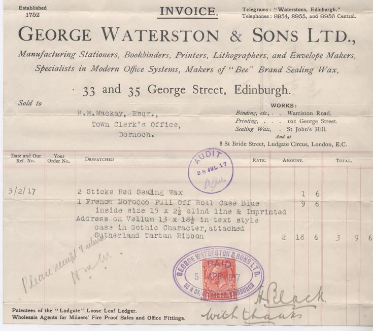 Bill for burgess ticket 1917