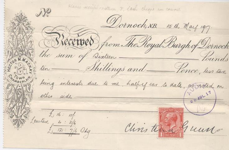 Receipt for interest 1917
