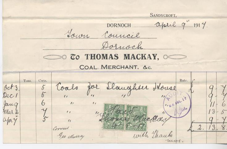Bill for coal 1917