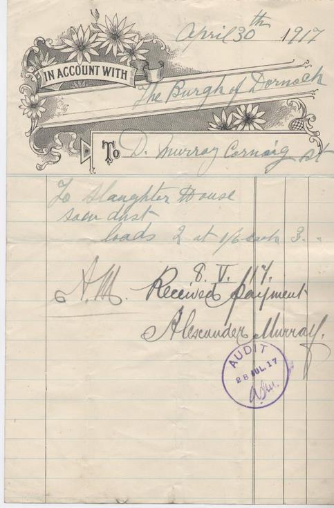 Bill for sawdust 1917