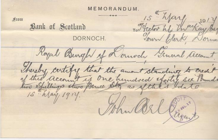 Bank memo 1917