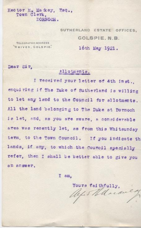 Letter re. land for allotments 1921