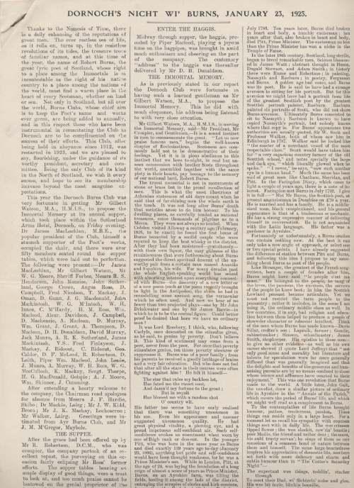 Report of Dornoch Burns Night 1925