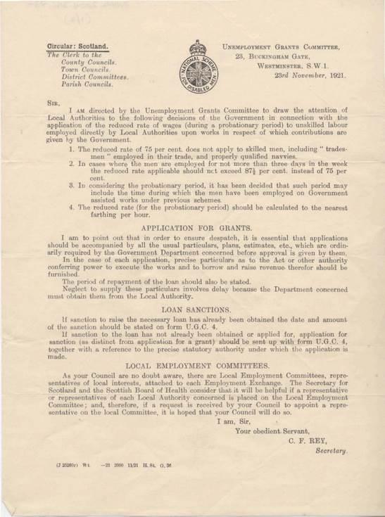 Letter re. unemployment grants 1921