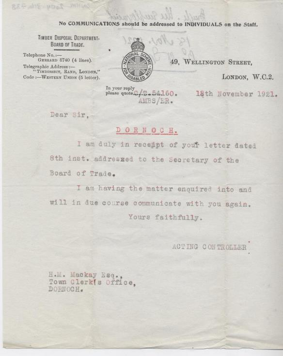 Letter from Timber Disposal Department 1921