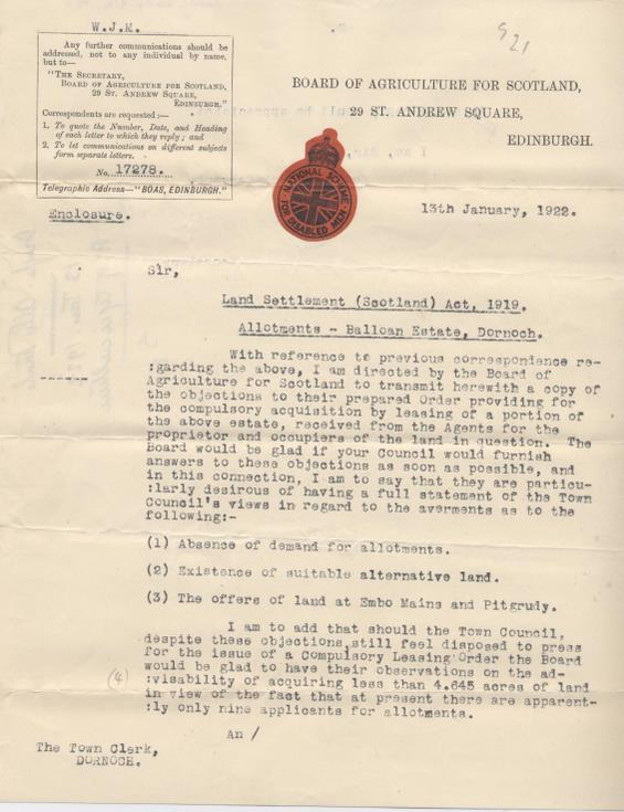 Letter from Board of Agriculture re. allotments 1922