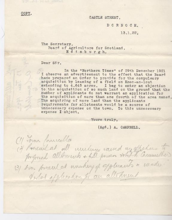 Objection to compulsory leasing of land for allotments 1922
