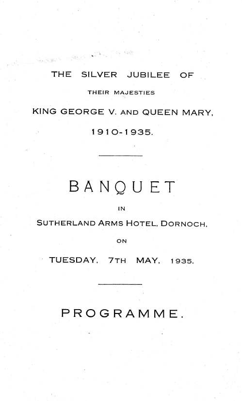 Programme for Silver Jubilee banquet 1935