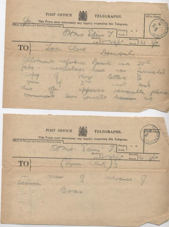 Telegram from Board of Agriculture re. allotments 1922