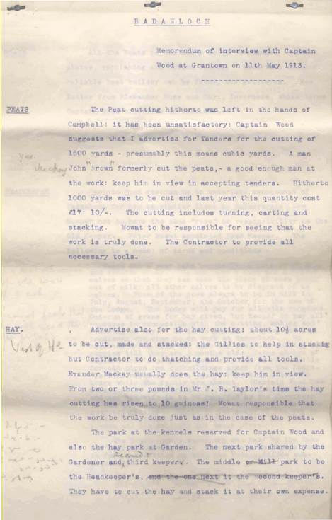 Notes of interview with Captain Wood 1913
