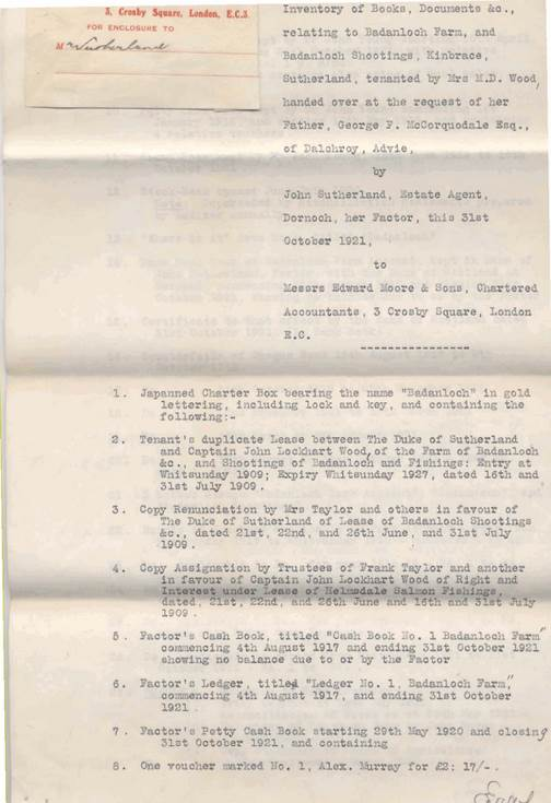 Inventory of Badanloch papers ~ Oct.31st 1921