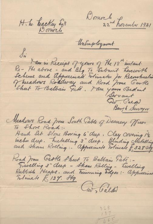 Letter re. reconstruction of Meadows Road 1921