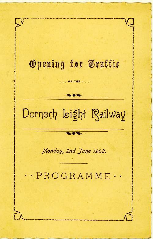 Programme for opening of Dornoch Railway