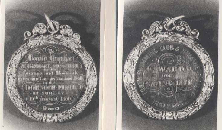 Inverness Advertiser report, photograph, and copies of medal, relating to ferry disaster at Bonar Bridge, 1860.