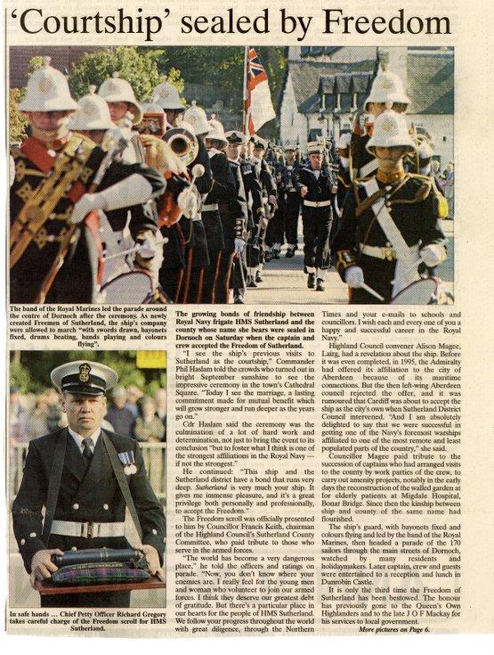 HMS Sutherland Freedom of Sutherland Parade