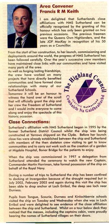 Area Convener' address at Freedom of Sutherland Parade